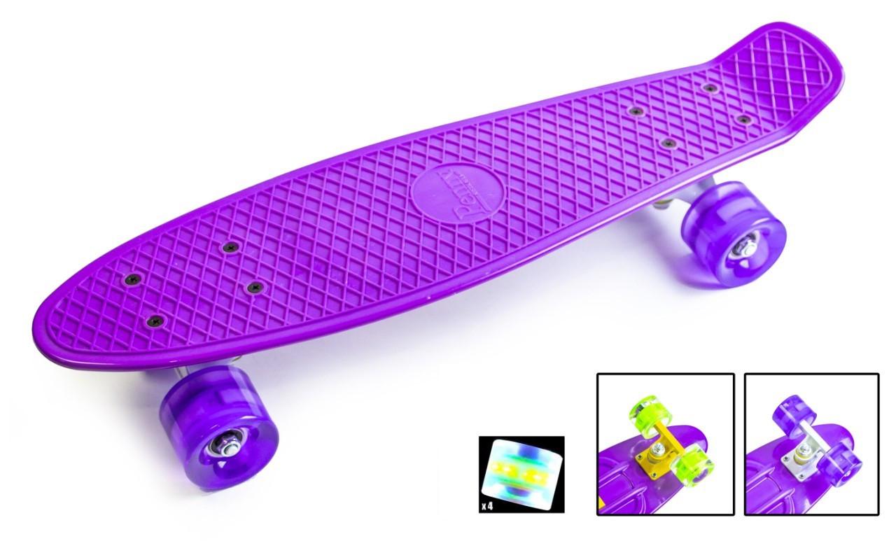 Скейтборд Пенниборд зі світними колесами Фіолетовий