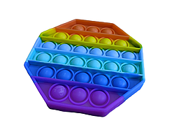Pop It сенсорна іграшка, пупырка, поп іт антистрес, pop it fidget, попит, восьмикутник райдужний