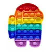 Pop It сенсорна іграшка, пупырка, поп іт антистрес, pop it fidget, попит, Among Us різнобарвний