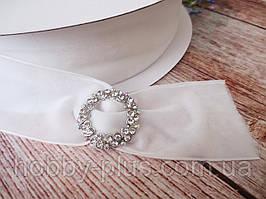 Лента бархатная, 25 мм, цвет белый, 1 м.