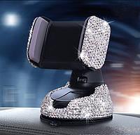 Подставка держатель для телефона (автомобильный держатель) в стразах кристалл, фото 1