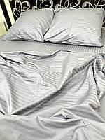 Постільна білизна Страйп сатин Темно сірий, фото 1