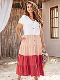 Расклешенное трехцветное платье на застежке пуговицы ЛЕТО, фото 5