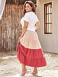 Расклешенное трехцветное платье на застежке пуговицы ЛЕТО, фото 4