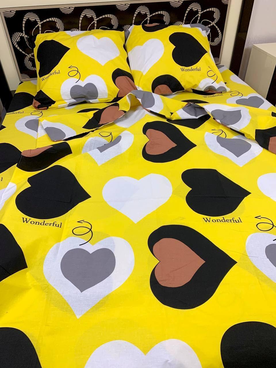 Постільна білизна Gold Серця на жовтому