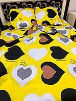 Постільна білизна Gold Серця на жовтому, фото 1