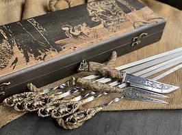"""Набір шампурів ручної роботи """"Кабан"""" з ножем і виделкою, в розписному буковому кейсі"""