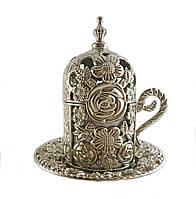 Турецкая чашка для кофе 60 мл, цвет: серебро