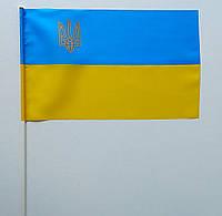 Флажок (прапорець) Украины с гербом , полиэстер ,17×26 см., фото 1