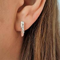 Сережки зі срібла і золота з цирконами Милі, фото 1