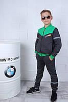 Спортивний костюм підлітковий #42166 зі світловідбиваючими вставками для хлопчика 122-152 см Сірий з зеленим