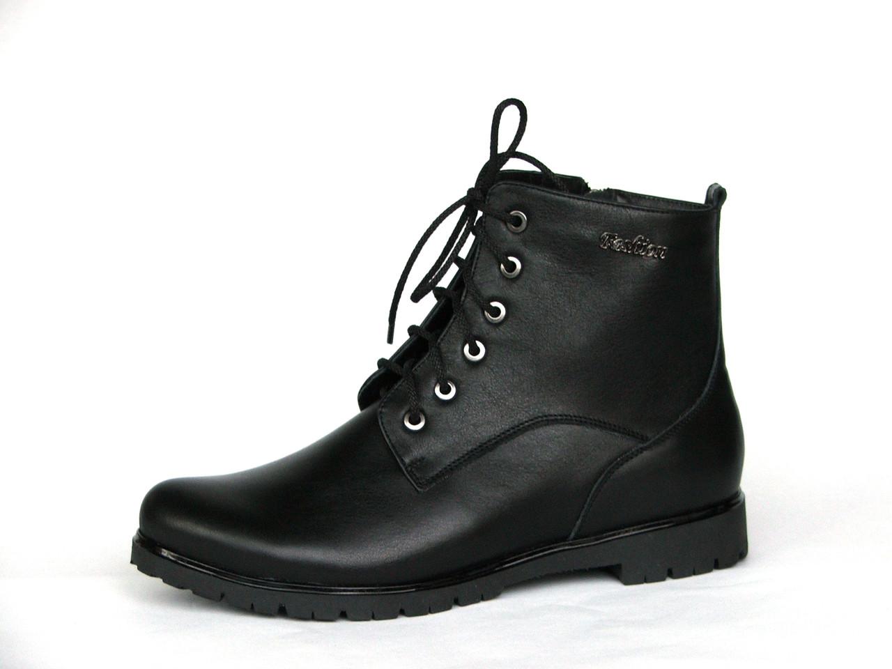 Женские зимние кожаные ботинки со шнуровкой