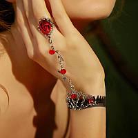 Стильное украшение на руку Слейв браслет кружево (красная роза) №15