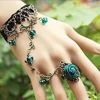 Кружевной Слейв браслет в готическом стиле (зеленая роза) №16