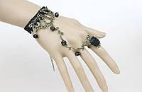 Слейв браслет Кружево в черном готическом стиле (черная роза) №18