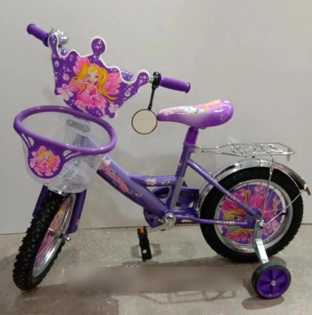 Велосипед детский двухколесный Azimut Принцесса Princess для девочки / колеса 14 дюймов / с корзинкой фиолет