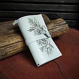 Шкіряний блокнот у подарунковій коробці, Блокнот ручної роботи з квітами, фото 5