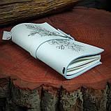 Кожаный блокнот в подарочной коробке,  Блокнот ручной работы с цветами, фото 7