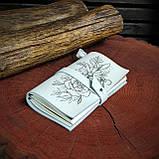 Шкіряний блокнот у подарунковій коробці, Блокнот ручної роботи з квітами, фото 2