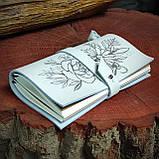 Шкіряний блокнот у подарунковій коробці, Блокнот ручної роботи з квітами, фото 6