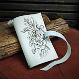 Шкіряний блокнот у подарунковій коробці, Блокнот ручної роботи з квітами, фото 4