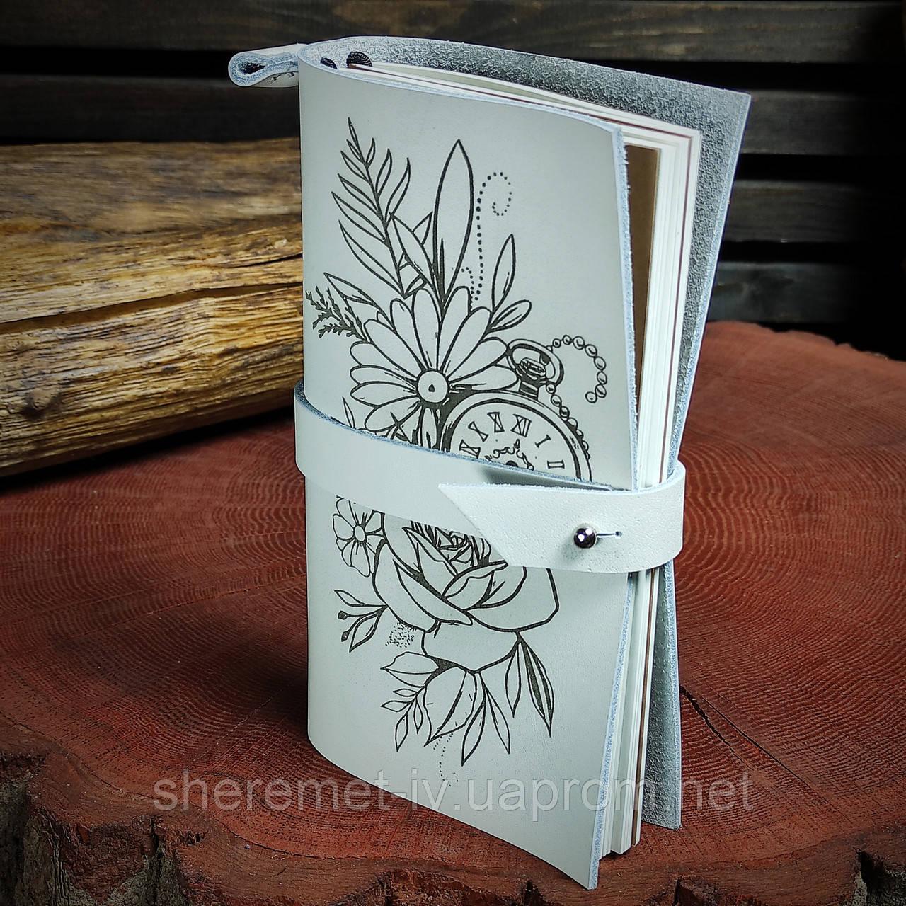 Кожаный блокнот в подарочной коробке,  Блокнот ручной работы с цветами