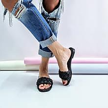 Женские черные кожаные шлепанцы с плетением на низком ходу