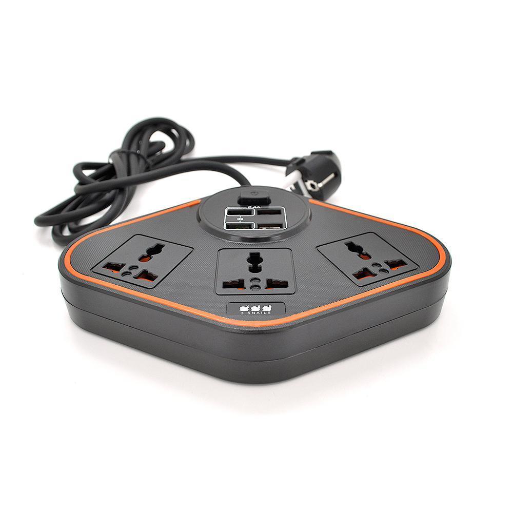 Мережевий фільтр BKL-07, 3 Розетки + 4 USB, 2 м, перетин 3х0,75мм, Black, Box