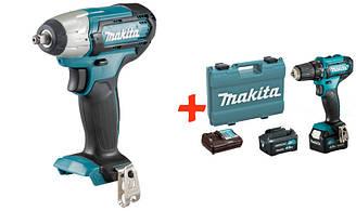 Аккумуляторный гайковерт Makita TW141DZ + акк шуруповерт DF333DWME + 2 акб 12 V 4 Ah + з у + ES, КОД: 2368261