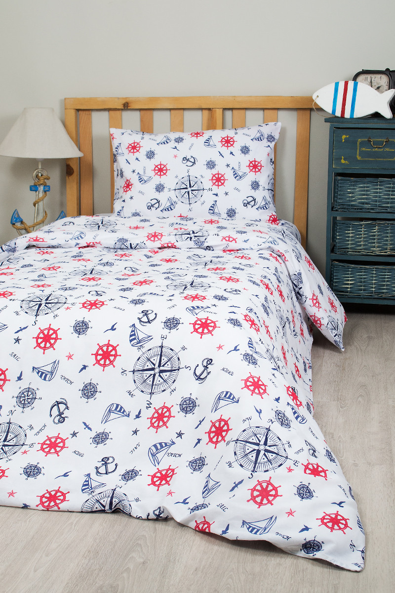 Постельное белье для подростков Lotus Young - Anchor синий ранфорс