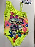 Цельный купальник для девочки от 2-5 лет  цвет коралловый и желтый, фото 2