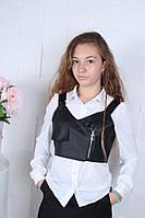 Школьная блузка с жилеткой оптом 134-140-146-152-158-164, фото 1