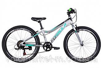 """Велосипед 24"""" FORMULA ACID 1.0 VBR 2021 серебристо-зеленый с черным"""