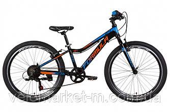 """Велосипед 24"""" FORMULA ACID 1.0 VBR 2021 черно-оранжевый с синим"""