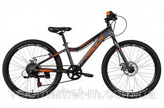 """Велосипед 24"""" FORMULA ACID DD 2021 антрацитово-оранжевый с черным"""