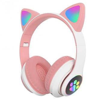 Беспроводные детские блютуз наушники STN-28 Bluetooth со светящимися кошачьими ушками розовые