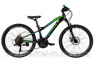 """Велосипед 24"""" FORMULA BLACKWOOD 1.0 2021 черно-зеленый с синим"""