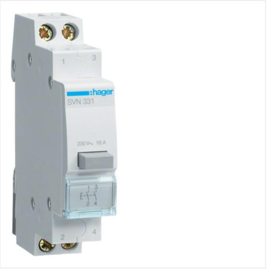 Выключатель кнопочный обратный 230В/16А, 2НВ, 1м SVN331
