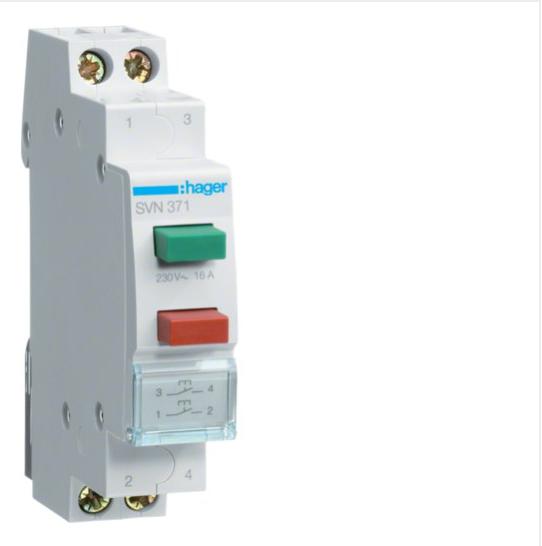 Вимикач двокнопковий зворотній: кнопка зелена 1НВ та червона 1НВ, 230В/16А, 1м SVN371
