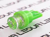 Світлодіодна авто лампа T10-1pc-увігнутий зелений LED 24V