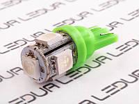 Світлодіодна авто лампа T10-5050-5smd зелений 12V