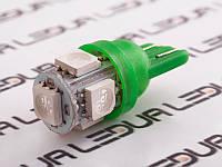 Світлодіодна авто лампа T10-5050-5smd зелений 24V