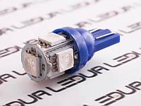 Світлодіодна авто лампа T10-5050-5smd синій 24V