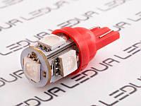 Світлодіодна авто лампа T10-5050-5smd червоний 12V