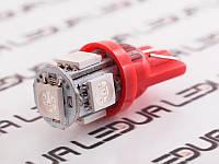 Світлодіодна авто лампа T10-5050-5smd червоний 24V