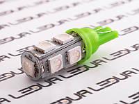 Світлодіодна авто лампа T10-5050-9smd зелений 24V