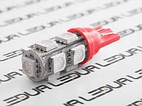 Світлодіодна авто лампа T10-5050-9smd червоний 24V