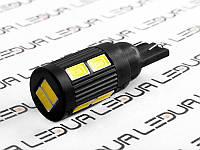 Світлодіодна авто лампа T10-5630-10smd з радіатором чорний корпус 12V білий