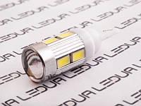 Світлодіодна авто лампа T10-5630-10smd з лінзою 12V білий