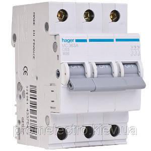 Автоматичний вимикач Hager 10A, 3п, C, 6kA, MC310A, фото 2